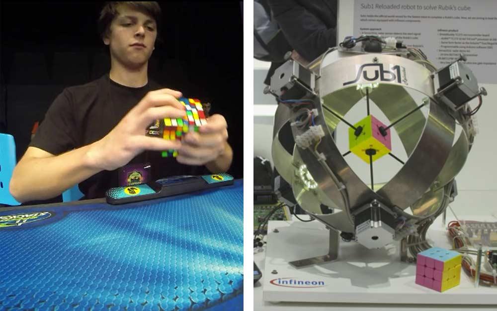 ใครเจ๋งกว่า! ทั้งคนทั้งหุ่นยนต์ต่างทำลายสถิติโลกการแก้รูบิคเร็วที่สุด