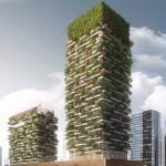 ตึกสูงระฟ้าสไตล์ใหม่ที่มีต้นไม้ปกคลุมโดยรอบตึกกำลังหยั่งรากลงที่ประเทศจีน